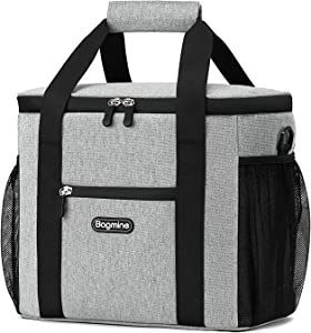 Bagmine 24 Can Cooler Bag Soft Sided, Collapsible Insulated Lunch Cooler Bag Tote for Picnic Camping, Leak Proof, 15 Liter, Gray/Navy Blue/Beige 
