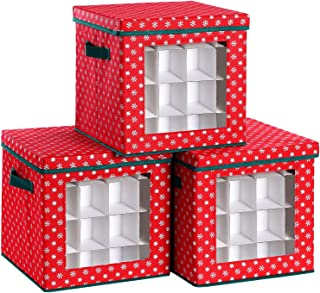 SONGMICS Set of 3 Christmas Ornament Balls Storage Box with Lid, Holiday Storage Cube Bins for Decorations, Holds up to 64 Holiday Ornaments, 12 x 12 x 12 Inches, Red with Snowflakes URXFB02G-3