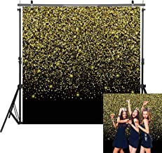 Haboke 6x6ft Durable Fabric Black and Gold Glitter Birthday Photo Booth Backdrop for Birthday Wedding Baby Shower Party Photography Background Decorations Shoot Supplies Studio Props