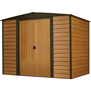 Arrow Woodridge Low Gable Steel Storage Shed, Coffee/Woodgrain 8 x 6 ft.