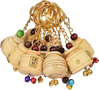 Saudeep India Wooden Hand Carved Keychains (Multicolour) - Set of 12 (Cream)