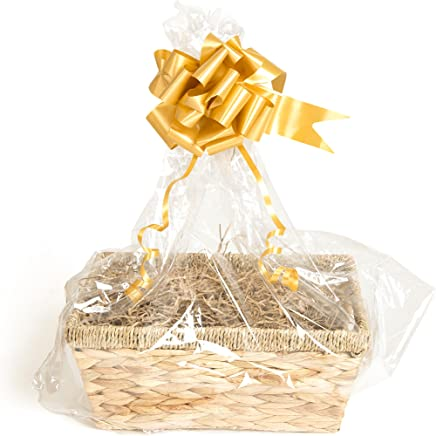 Millbarn Packaging Honey Willow Basket /& DIY Hamper Kit with Blue Shred Blue Bow and Clear Gift Wrap