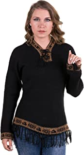 Gamboa Alpaca Wool Sweater for Women Hooded with Fringes