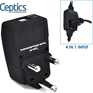 Ceptics GP4-10L 2 USB S. Africa Travel Adapter 4 in 1 Power Plug (Type M) - Universal Socket
