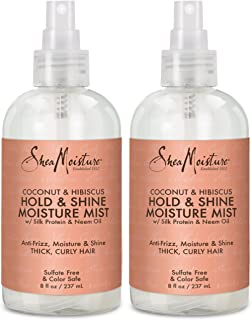 Shea Moisture Coconut Hibiscus Hold & Shine Daily Moisture Mist w/Silk protein & Neem Oil 8 oz, Thick, Curly Hair, Sulfate...