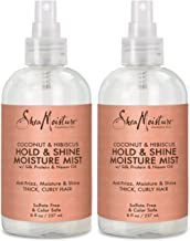Shea Moisture Coconut Hibiscus Hold & Shine Daily Moisture Mist w/Silk protein & Neem Oil 8 oz, Thick, Curly Hair, Sulfate Free & Color Safe, Pack of 2