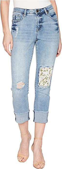"Tribal Stretch Denim 24"" Five-Pocket Crop with Floral Patch in Dream Blue"