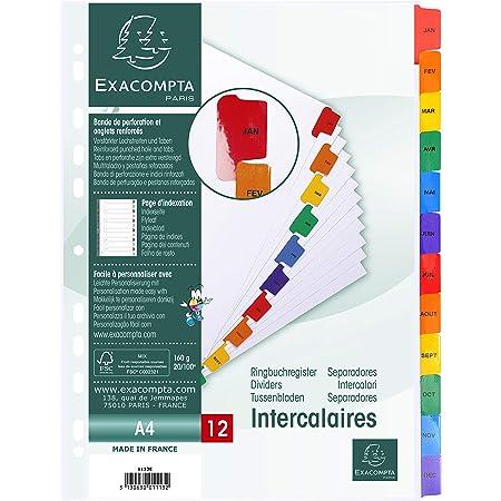 Exacompta - Réf. 1113E - Intercalaires en carte blanche 160g/m2 FSC® avec 12 onglets imprimés mensuel de Janvier à Décembre en couleur - Page d'indexation imprimable - Format à classer A4