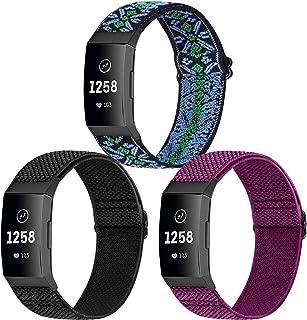 WNIPH Armband i 3-pack kompatibelt med Charge 4-/Charge 4 SE-/Charge 3-/Charge 3 SE-armband, justerbart vävt tyg, ersättni...
