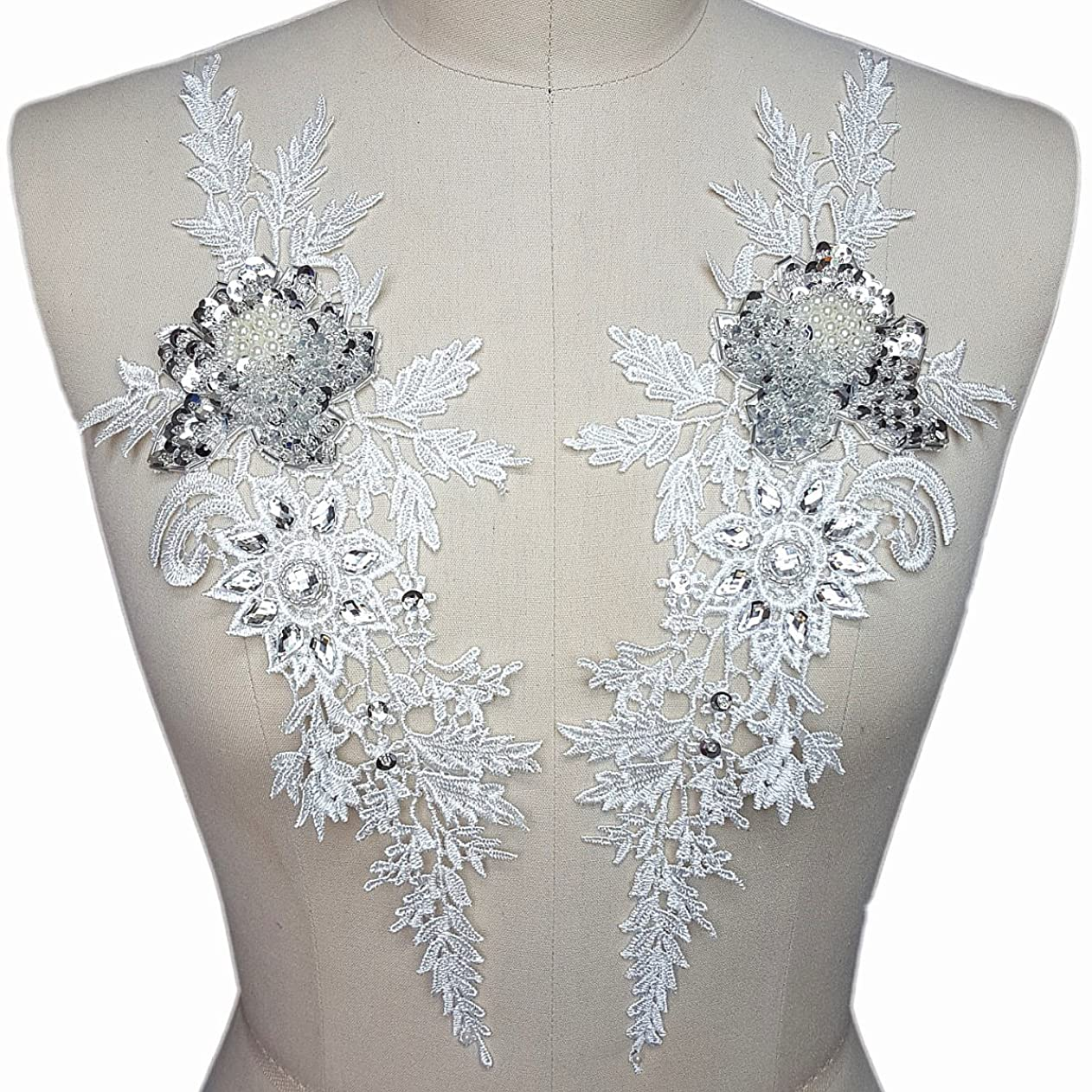 Lace White one Pair Sequins Rhinestones Embroidered Sew on Appliques, Patch for Wedding Dresses DIY Bridal Veil hknjptkkdwg47622