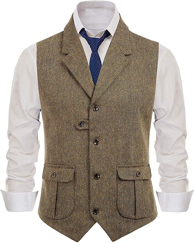 Wemaliyzd Mens Collar Waistcoat Notch Lapel Sleeveless Single Breasted Suit Vest