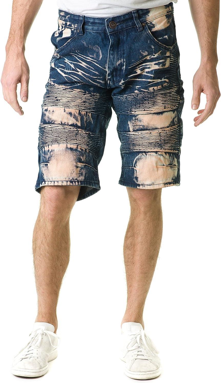 Stitches & Rivets Men's Dark Blue Denim Shorts with Moto Thigh & Tan Tinted Dye