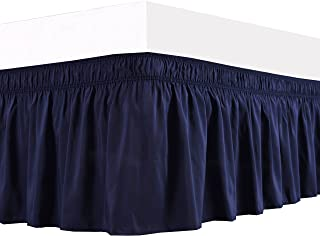 Biscaynebay Wrap Around Bed Skirts Elastic Dust Ruffles, Easy Fit Wrinkle and Fade Resistant Solid Color Silky Luxurious Textured Fabric, Navy Queen 15 Inches Drop