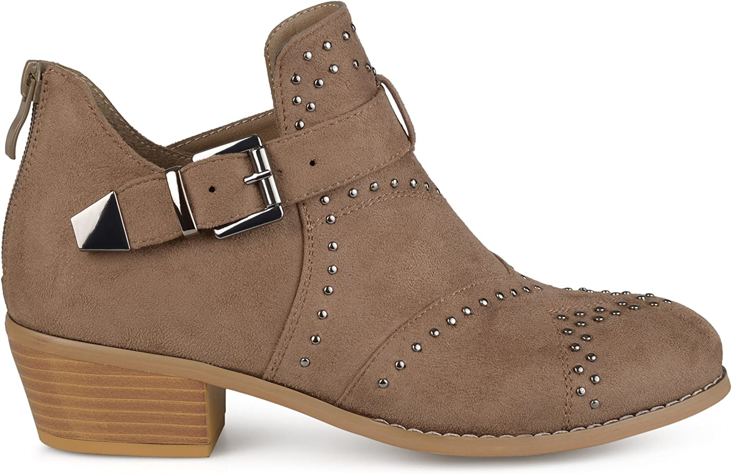 Brinley Co Womens Faux Suede Decorative Ankle Strap Studded Booties
