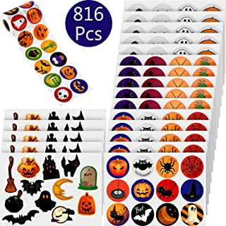 816 Pieces Assorted Halloween Stickers Halloween Roll Stickers Jack O Lantern Party Decorations Trick or Treat Goodie Bag Stuffer Filler,Pumpkin Spider Bat Stickers for Halloween Party Favors