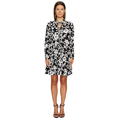 Boutique Moschino Long Sleeve Floral Dress (Black/White) Women