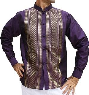 RaanPahMuang 品牌长袖正式中国织花纹丝绸衬衫
