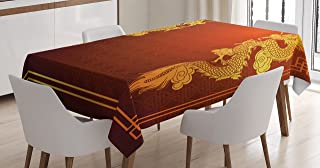 Ambesonne Dragon Tablecloth, Chinese Heritage Historical Eastern Motif with Creature Design, Rectangular Table Cover for Dining Room Kitchen Decor, 60