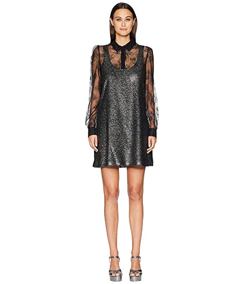Boutique Moschino Sparkle Dress with Lace Undershirt