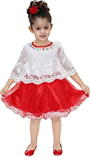 Bachcha Girls Midi/Knee Length Party Dress (Red, Cap Sleeve)