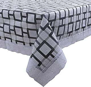 KUBER INDUSTRIES Checkered PVC 6 Seater Dining Table Cover - Grey (CTKTC05459),150 cm x 225 cm
