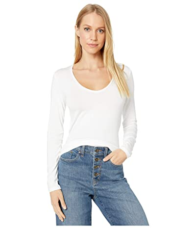 Majestic Filatures Long Sleeve Flat Edge V-Neck Tee (Blanc) Women