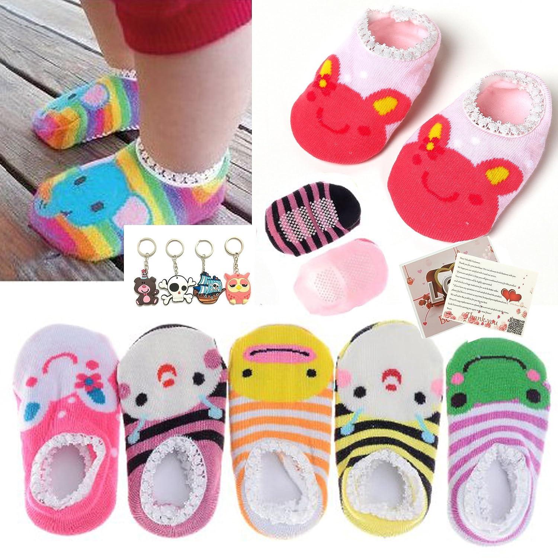 Fly love 5 Pairs Baby Toddler Newborn Infant Stripes Anti Slip Non Skid Socks No-Show Crew Boat Cotton Slipper Sock Randomly color