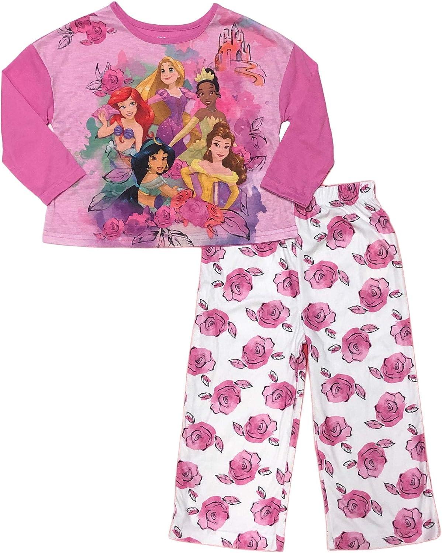 Disney Princess Girls Blue 2 Piece Short Sleeve Pajama Set