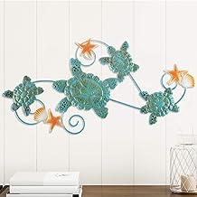فنون جدارية على شكل سلاحف جميلة مع قذائف ونجم البحر البحرية 3D المعادن شنقا الديكور خمر الساحلي تحت الماء حياة المحيط العم...