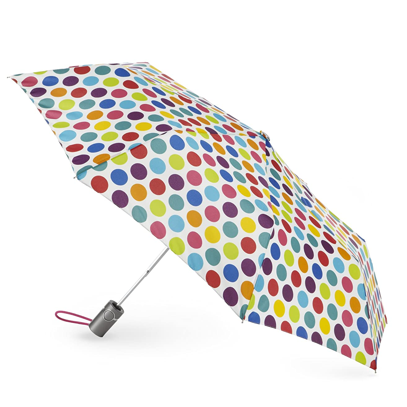 Totes Classics  3 Section Automatic Compact Umbrella, Big Rainbow Dot, One Size