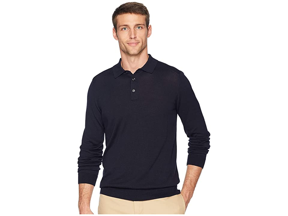Perry Ellis Cotton Modal Polo Sweater (Dark Sapphire) Men
