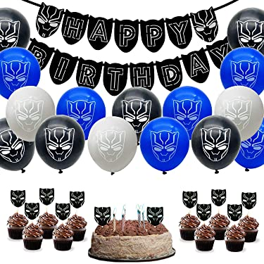 55 Pack Black Panther Party Supplies Set,24 Pcs Black Panther Theme Cupcake Toppers,30 Latex balloons,1 Black Panther Happy Birthday Banner Decorations for Family Party Decorations