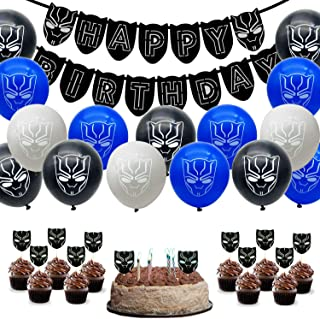 55 Pack Black Panther Party Supplies Set,24 Pcs Black Panther Theme Cupcake Toppers,30 Latex balloons,1 Black Panther Happ...