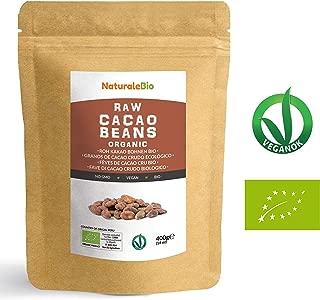 Granos de Cacao Crudo Ecológico 400g   100 % Bio, Natural y Puro   Cultivado en Perú a partir de la planta Theobroma cacao   Superalimento rico en antioxidantes, minerales y vitaminas   NATURALEBIO
