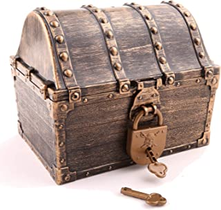 "Lingway Toys Pirate Treasure Chest in Different Colorways ,Pirate Coins and Colorful Gems Party Favors for Kids (6.3""X4.8""X5.2"",Vintage Chest with Locks Only)"