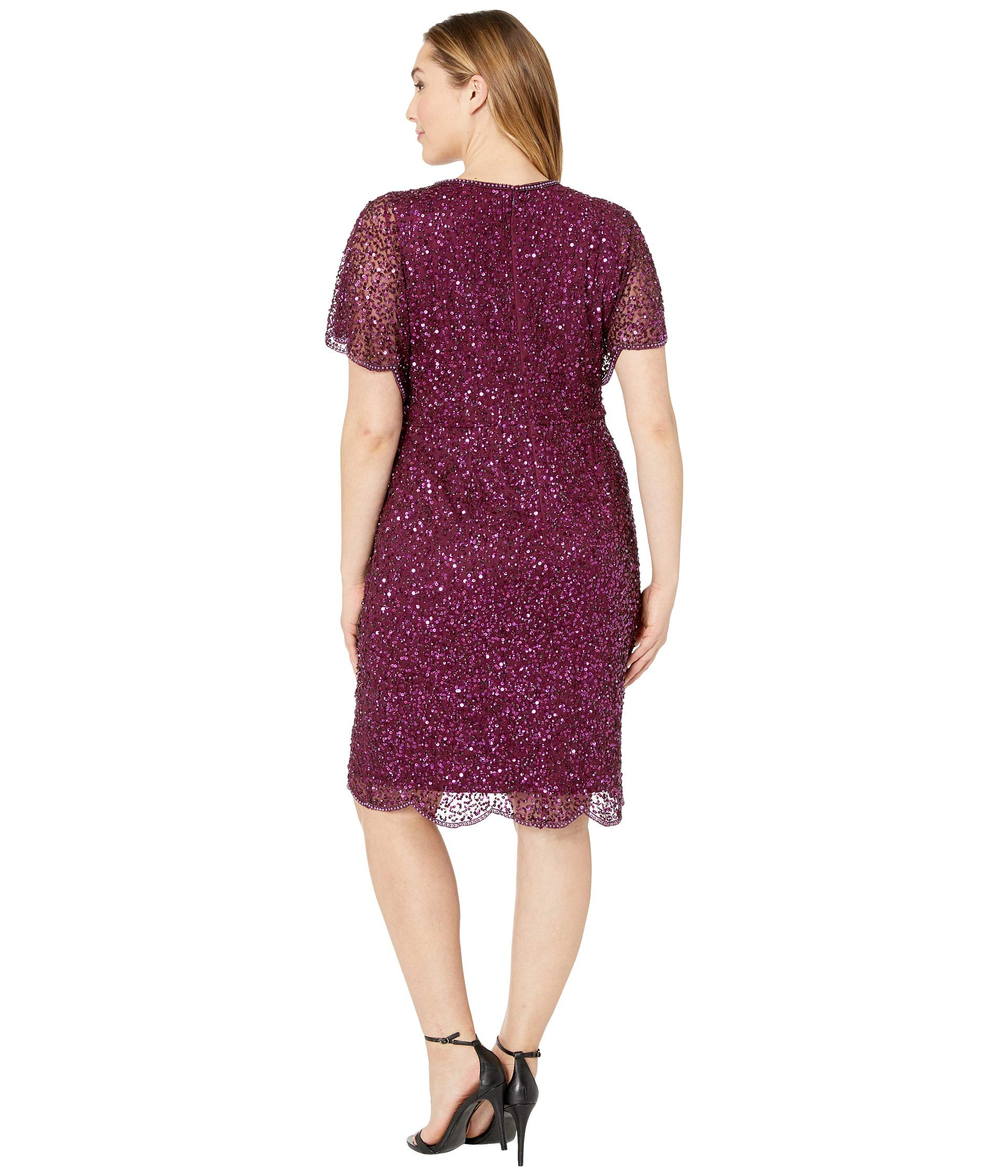 Size Papell With Cocktail Dress Flutter Pearl Adrianna Cabernet Edge Sleeve Beaded Plus Detail ZEqxSw6d