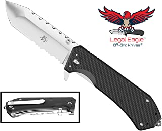 Off-Grid Knives - Legal Eagle Folding Knife, Legal Carry EDC Blade with Glass Breaker, Cryo Japanese AUS8 Steel, G10 Scales, Rides Deep in The Pocket, Tip-Up Left or Right Carry
