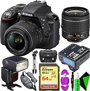 Nikon D3300 DSLR Camera (Black) + Nikon 18-55mm Lens + 64GB Memory Card + GODOX Flash (TTL) with Built-in Receiver + Godox X2 2.4 GHz TTL Wireless Flash Trigger