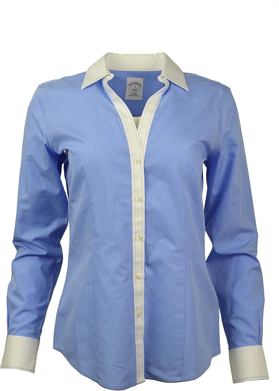 Brooks Bredhers Womens Striped NonIron Contrast Stitch VNeck Button Down Shirt bluee White (10)