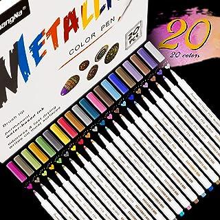 Emooqi Marqueur Métallique Pens, 20 Couleurs Marqueurs Peinture pour Peinture Céramique, Bois, Porcelaine, Plastique, Toil...