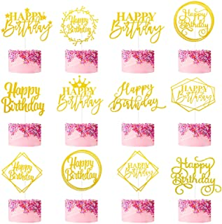 36 Pieces 12 Styles Happy Birthday Cake Toppers Birthday Cupcake Toppers Glitter Paper Cake Toppers Glitter Happy Birthday...
