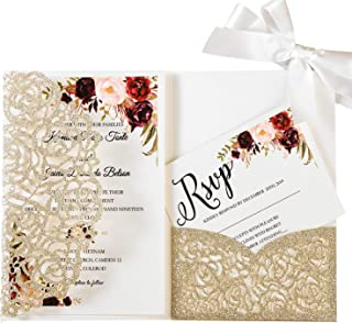 KUCHYNEE 20PCS 5.1 x 7.1'' Tri-fold Wedding Invitations Cards with Ivory Ribbons and Envelopes for Bridal Shower Engagement Birthday Graduation Party Invite (Gold Glitter)