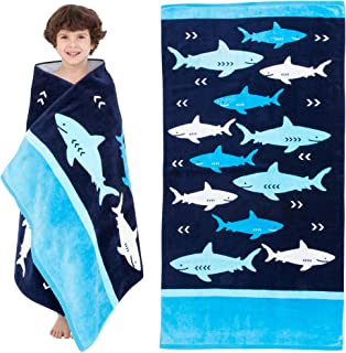 Yayme! Shark Beach Towel for Boys   Cotton Travel Towel Kids Beach Towel Perfect for Vacations, The Swimming Pool and Bath Time for Kids and Toddlers   Fun Summer Accessories and Toddler Beach Blanket