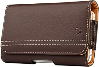 Horizontal Vegan Leather Pouch Case with Belt Clip and Magnetic Flap (XL) Interior Dimensions 6.22 x 3.25 x 0.7 Inches - Brown