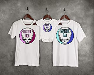 Grateful Dead Family Mom Dad and Baby Matching Set Onesie Tshirt Mama Papa Son Daughter Hippie Fathers Day Gift