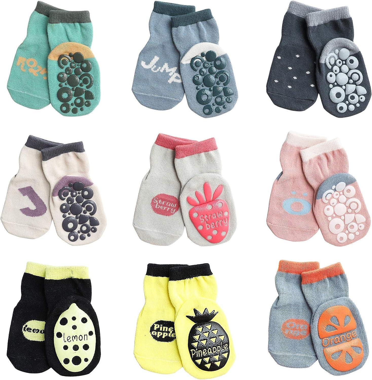 Toddler Grip Socks Baby Girls Boys Non-Skid Kids Crew Cartoon Socks 9 Pack, 1-5T