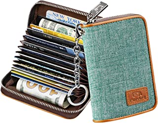 Credit Card Wallet, Zipper Card Cases Holder for Men Women, RFID Blocking, Key Chain, 15/16 Slots, Compact Size