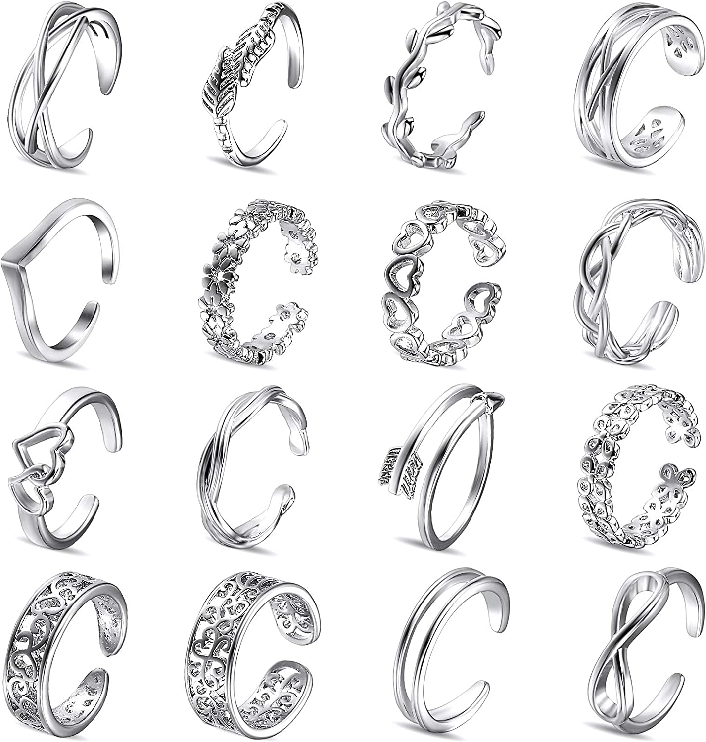 Hicarer 16 Pieces Toe Rings for Women Girls Adjustable Open Toe Ring Summer Beach Flower Arrow Wave Band Tail Ring Set Finger Foot Jewelry