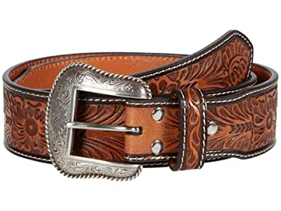 M&F Western Embossed Cactus Concho Belt (Brown/Tan) Men
