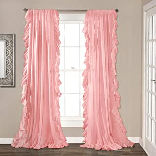 Lush Decor Reyna Pink Window Panel Curtain Set for Living, Dining Room, Bedroom (Pair), 84